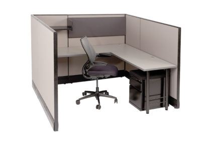Herman Miller AO 6x6x53H w OEM Fabric and New Worksurfaces shown and mobile pedestal 2