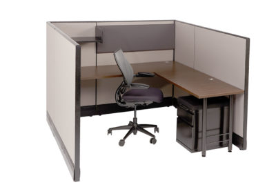 Herman Miller AO 6x6x53H w OEM Fabric and New Worksurfaces shown and mobile pedestal