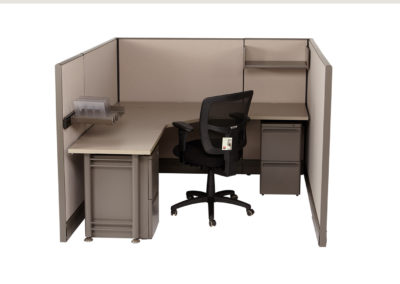 Herman Miller AO 6x6x53H w OEM Fabric and Orginal worksurfaces shown with an additional filing pedestal accessories and shelf