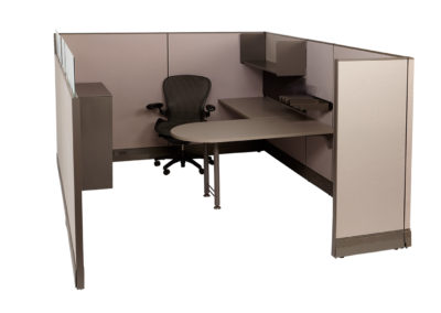 Herman Miller AO 8x10x63H w OEM Fabric and Orginal worksurfaces shown with an additional filing pedestal accessories and shelf
