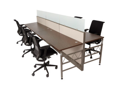 Herman Miller AO Benching w OEM Fabric and New worksurfaces shown optional upmounted glass